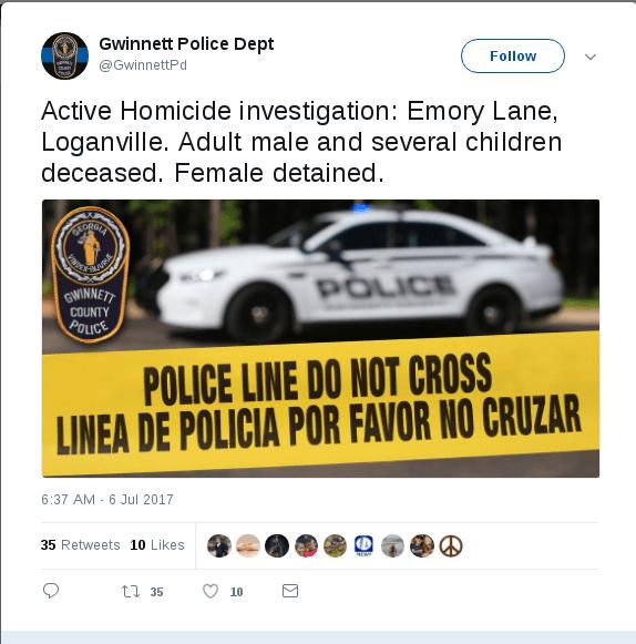 Atlanta surburban homicide police tweet1