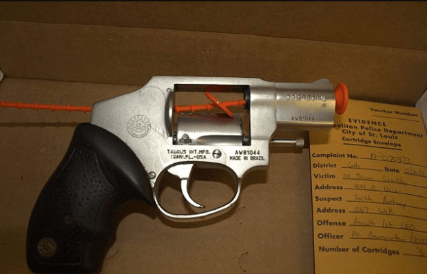 evidence photo of a pistol that was removed from Smith's car after the shooting. Stockley's DNA was on it