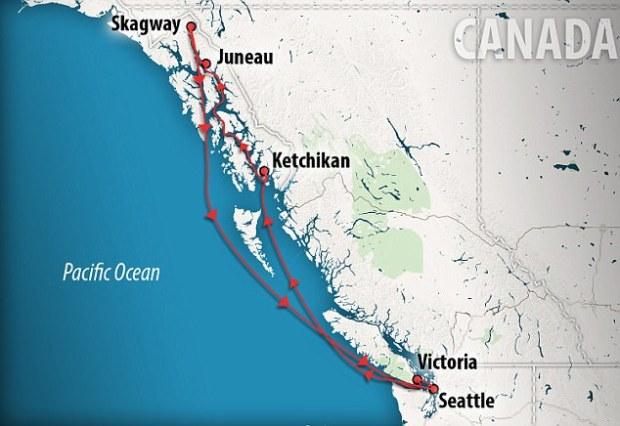 The itinenary of the Princess cruiseship - Seattle to Canada.jpg