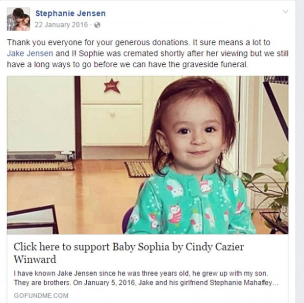 GoFundMe campaigns to pay for Sophia's funeral costs and medical bills 1.jpg