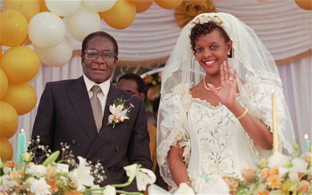 Grace Marufu with Robert Mugabe on their wedding day