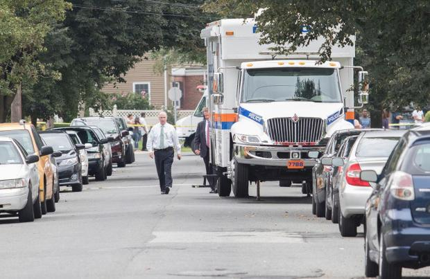 Nassau Country police on the scene Saturday of the horrific crim.JPG