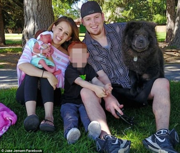 Stephanie and Jake Jensen, their baby girl, and Jake's older son from a previous relationship.jpg