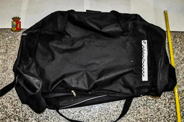 The model was stuffed inside this bag for the two-hour drive from Milan to Turin.jpg