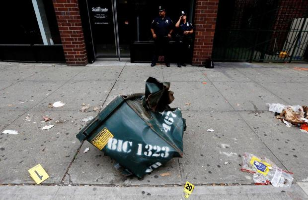 Photo of a mangled dumpster at the site of the Chelsea explosion