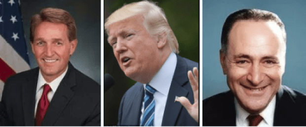 Sen Jeff Flake, Pres Donald Trump, Sen Chuck Schumer 2