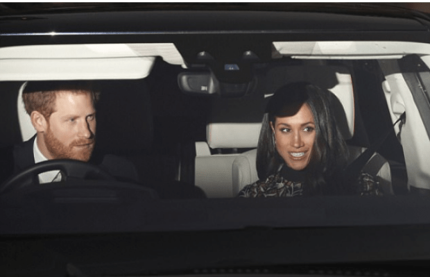 Prince Harry and WFiancee Megan Markle arrive for the Queens lunch Dec 2017.png