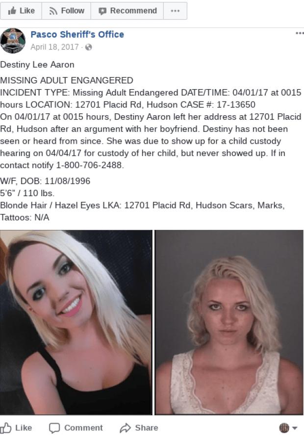 Destiny Lee Aaron missing person Facebook posting.png