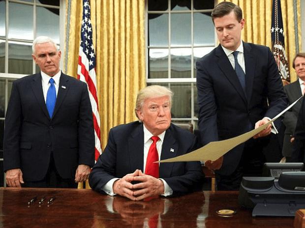 Mike Pence President Donald Trump and Rob Porter 1