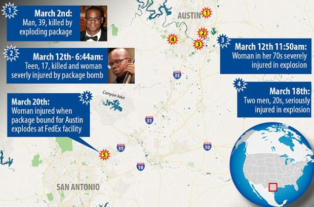 Map of bomb explosion in and around Austin, Texas since Feb 2018.jpg