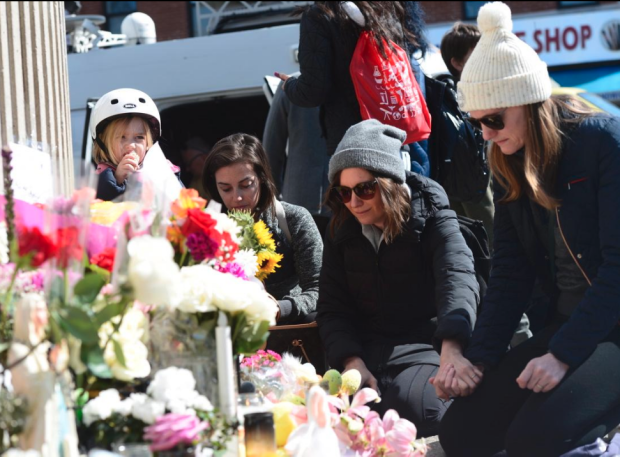 Mourners at the memorial for Abigail and Josh 1