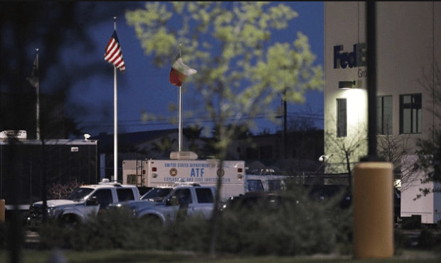 Package 'containing nails and pieces of metal' destined for Austin exploded and injured one person inside a FedEx facility in nearby San Antonio just after midnight, Monday.png