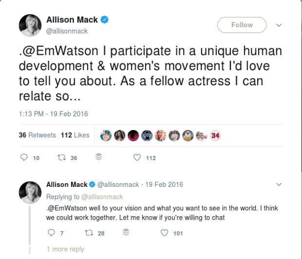 Allison Mack's recruitment message to Emma Watson 1.png