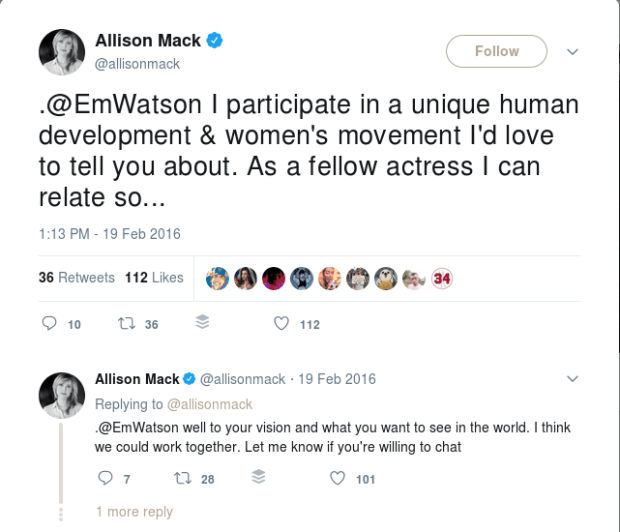 Allison Mack's recruitment message to Emma Watson 1.png