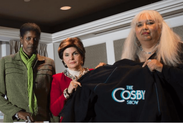 Donna Barrett [left], and Dottye [right], Dottey, with their attorney Gloria Allred [centre]