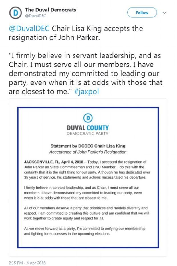 Florida Democratic National Committee member John Parker's letter of resignation .jpg