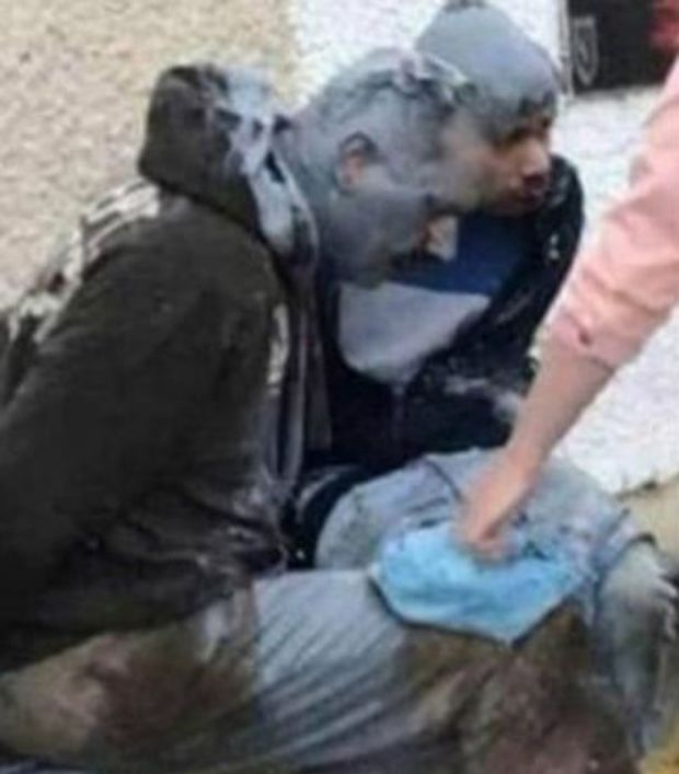 James White and Alexis Guesto were found tied to a bench and covered in paint 2