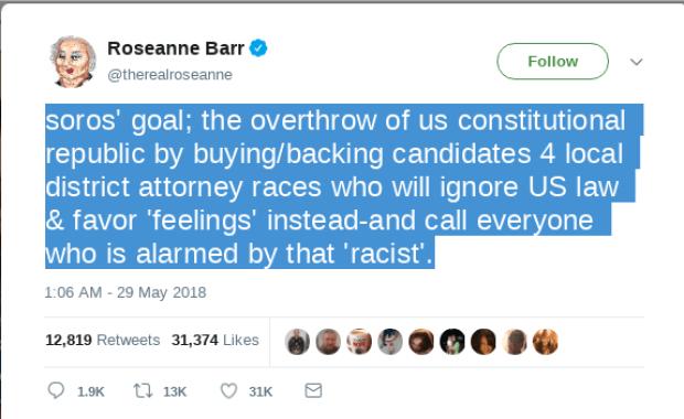 Rosanne Barr tweet against George Soros 1.png