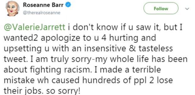 Rosanne Barr tweet bapologising for Valerie Jarret tweet 5