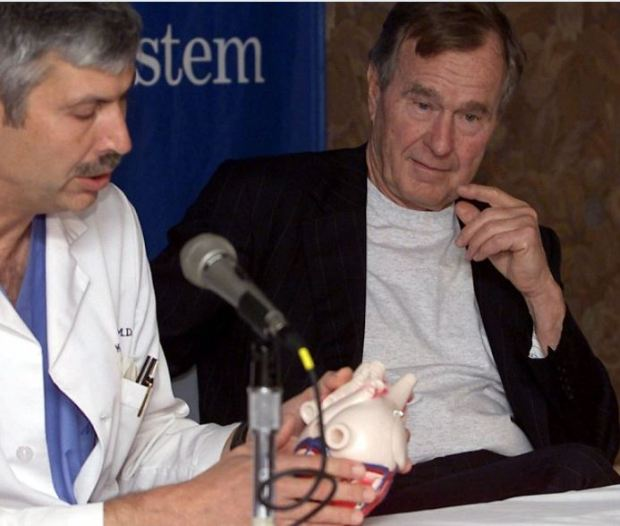 Dr Mark Hausknecht (left) andr president George H W Bush 3.JPG