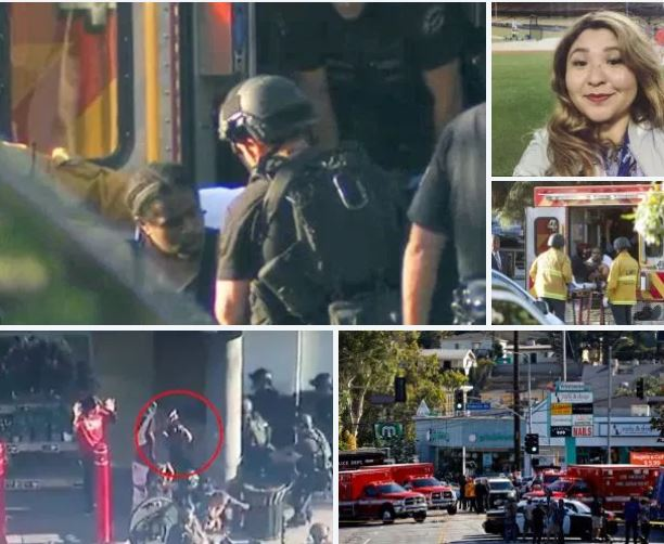 Suspect, 28, who shot his girlfriend and grandmother seven times, before holding a 50 people in a Trader Joe's hostage, cuffs himself and walks out of LA store - Ending terrifying siege that left the store manager woman dead