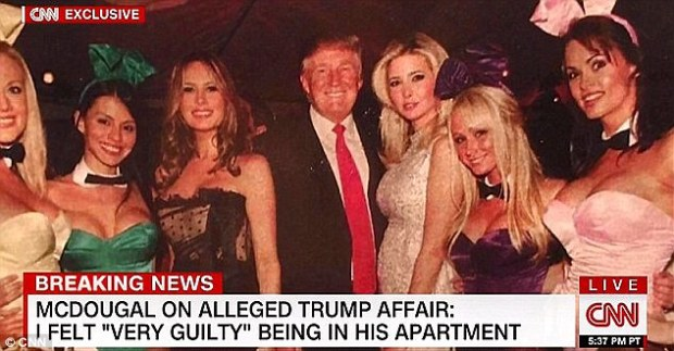 Melania Trump [third from left], Donald Trump [center], and Ivanka Trump [third from right], [far right in this photo with