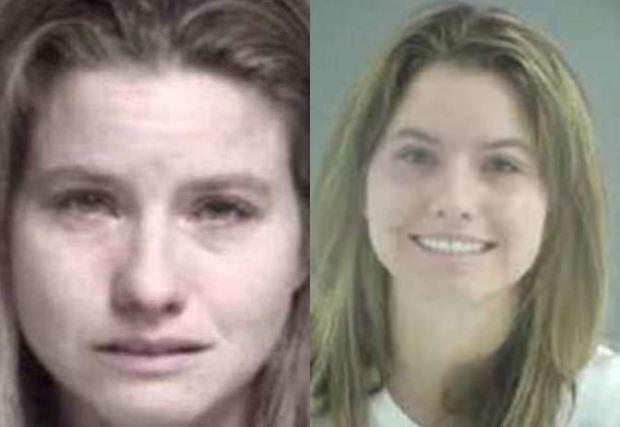 Melissa Bergman in Nov 2017 mugshot [left] and her June 2010 mugshot  [right].JPG