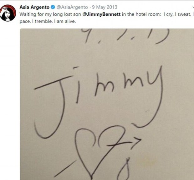 Asia Argento posted a note with Bennett.jpg
