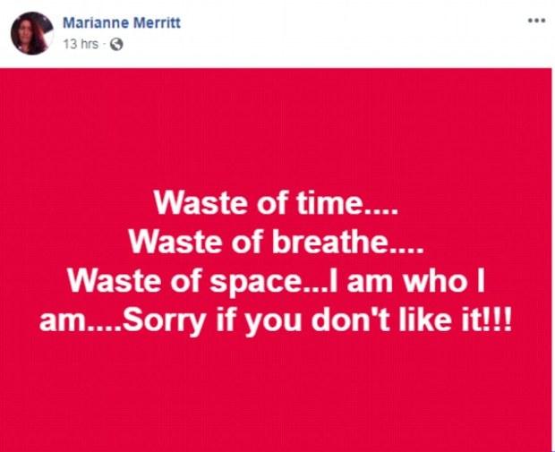 Marianne Merritt Facebook posting 1