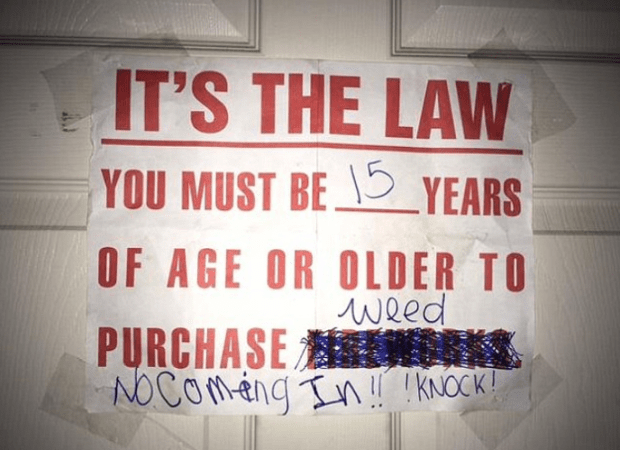 Sign outside teenager's bedroom door for her drug business 1.png