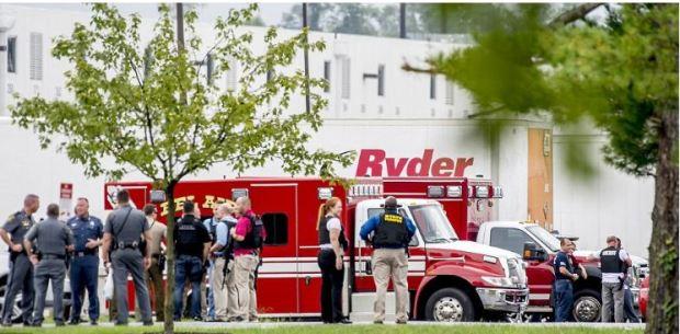 Ambulances and fire trucks at the scene oafter female shooter struck in Aberdeen, Maryland,.JPG