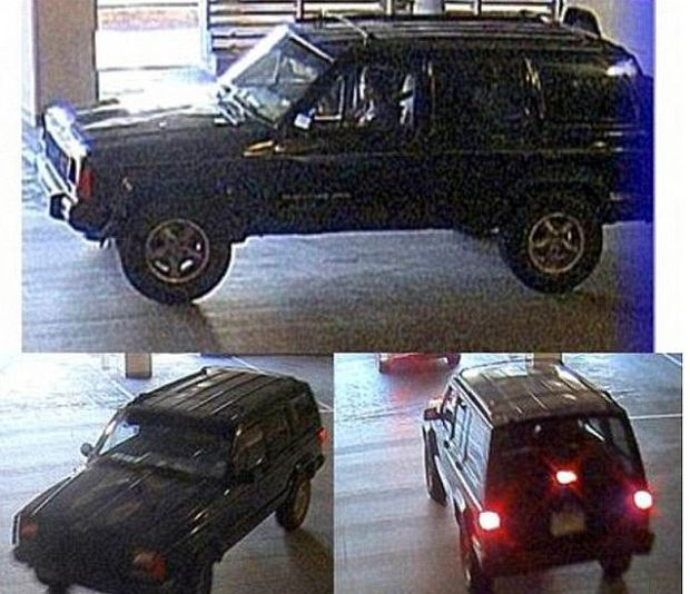 CCTV captured image of a black Jeep driven by Cortes with Love as passenger pulling into the parking lot of Hatcher's apt before she was killed..JPG