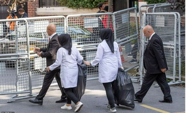 Cleaning crew take out trash rom the residence of Saudi Arabia's Consul General Mohammad al-Otaibi in Istanbul. Oct 17 2018 before Turkish forensic team arrive 1