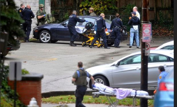 Policee and EMTs remove bodies after the synagogue shootingin Pittsburg, Pa 1.JPG
