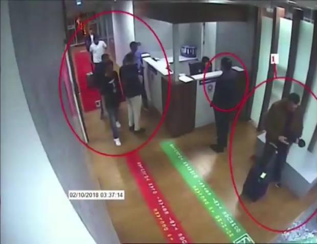 The 15 man saudi hit team were photographed at passport control at Ataturk Airport on 2 October.jpg
