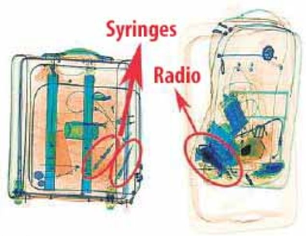 X-ray images from airport of the hit squad's luggage showed syringes and radios 1.png