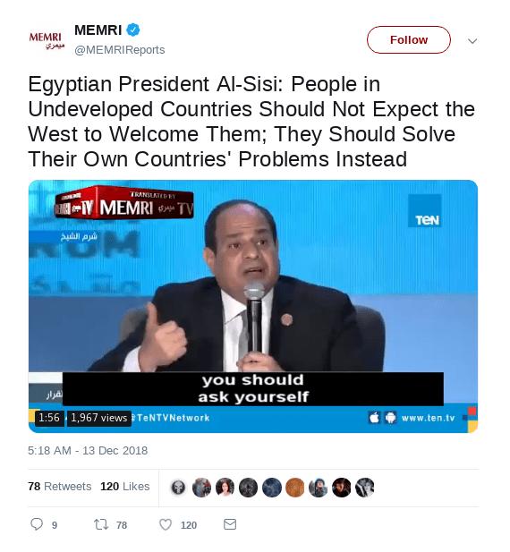Abdel Fattah al-Sisis message 1
