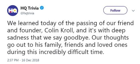 Rus Yusupov's tweet on his partner Colin Kroll's death 2