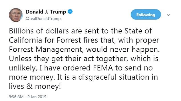 Donald Trump tweet on furlough, ref California 1