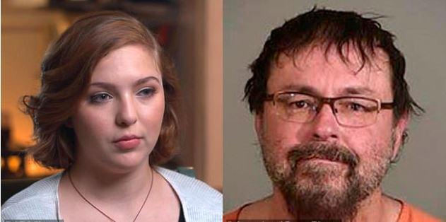 Student victim,  Elizabeth Thomas, confronts former teacher Tad Cummins, 52, as he is sentenced to 20 years for going on the run with her when she was 15 and 'having sex every day as they fled from state to state'