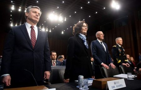 FBI director Christopher Wray (L), CIA chief Gina Haspel (2nd L), Daniel Coats (2nd R), director of National Intelligence, and General Robert Ashley (R), director of the Defense Intelligence Agency 1