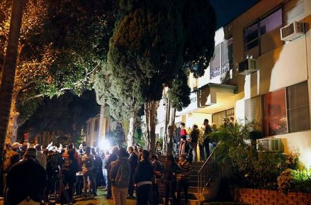 Protesters outside Edward Buck's apt 1