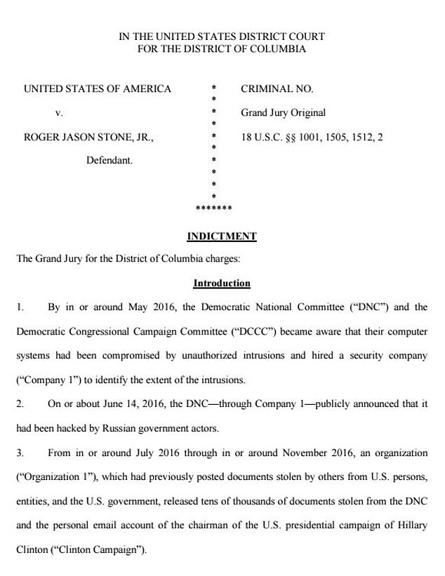 Roger Stone indictment affidavit 1