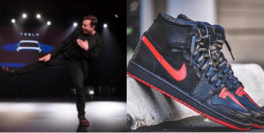 de09d55c089 Elon Musk's unveiling of the Model Y is overshadowed by his custom Tesla  Jordan 1 sneakers – Tesla CEO's python skin shoes goes viral, Twitter users  joke ...