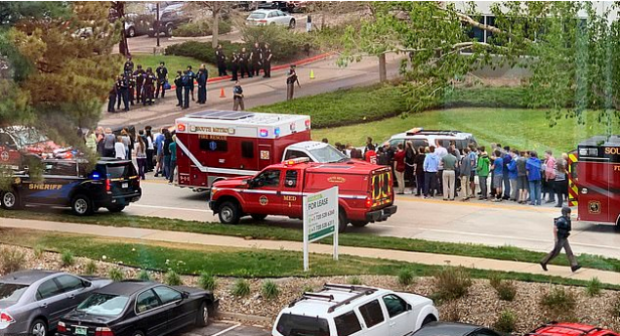 A massive police presence descended on the scene minutes after shots were fired at 1.53pm at a Denver school on Tuesday