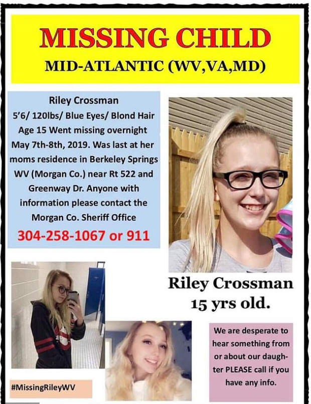 Missing person flyer for Riley Crossman 1