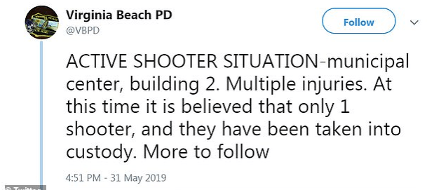 Police Tweet on shooting at Virginia Beach