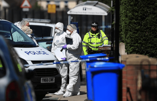 Police forensics officer attends the scene after the Barrass brothers were taken to hospital in Sheffield, UK 2