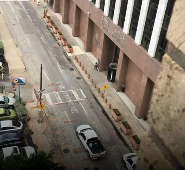 Brian Issack Clyde creeps near Dallas Federal courthouse 1
