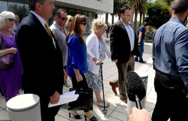 Joseph McStay's mother, Susan Blake, center, and other members of the McStay family leave the courthouse after Merritt's guilty verdict